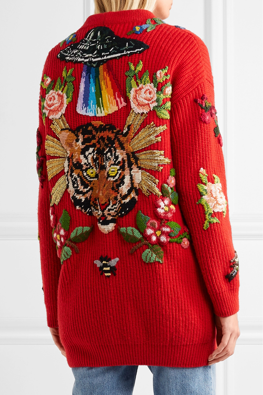 Gucci Embellished ribbed merino wool cardigan