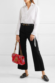 Gucci Horsebit-detailed wool and silk-blend crepe wide-leg pants