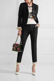 Gucci Ruffle-trimmed silk and wool-blend skinny pants
