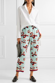 Gucci Grosgrain-trimmed printed silk crepe de chine straight-leg pants