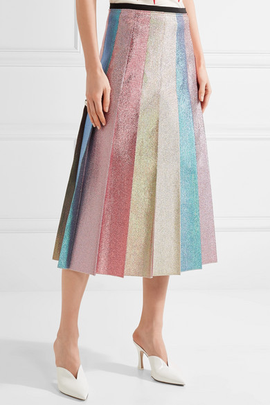Gucci. Pleated lamé midi skirt