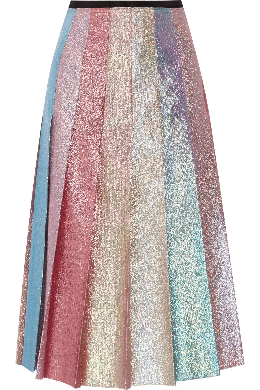 Gucci Pleated lamé midi skirt