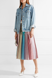 Gucci Pleated lamé midi skirt