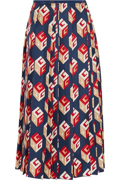 Gucci - Pleated Printed Silk-twill Midi Skirt - Navy