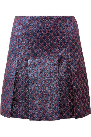 Pleated Metallic Jacquard Mini Skirt, Blue