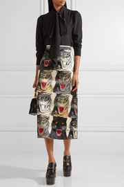 Printed silk-charmeuse midi skirt