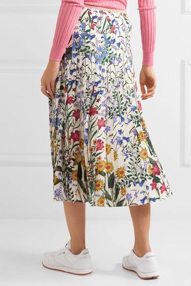 160eaeb426 Gucci | Pleated floral-print silk-crepe midi skirt | NET-A-PORTER.COM