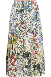 Pleated floral-print silk-crepe midi skirt