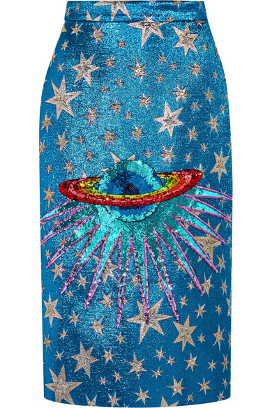 Gucci - Sequin-embellished Metallic Jacquard Midi Skirt - Turquoise