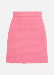 Cotton-blend tweed mini skirt