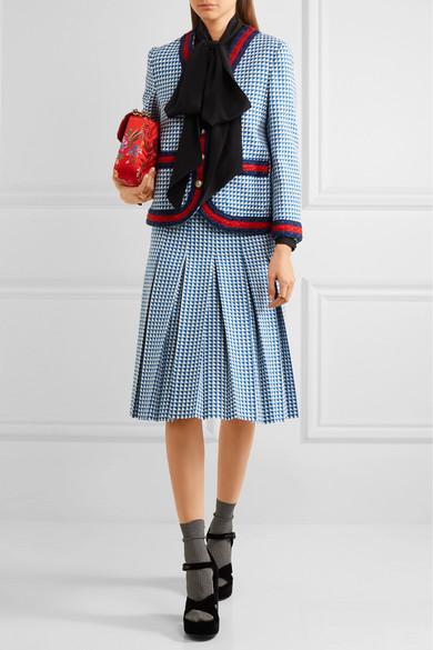 Gucci Faltenrock aus einer Wollmischung mit Hahnentrittmuster Online-Verkauf SustNc7O