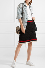 Gucci Ribbed knit-trimmed bouclé-tweed mini skirt