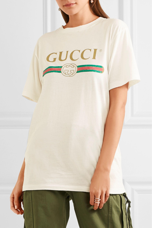 Gucci Appliquéd distressed printed cotton-jersey T-shirt