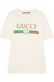 Gucci Appliquéd distressed printed cotton-jersey T-shirt