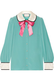 Gucci Bow-embellished satin-trimmed silk crepe de chine blouse