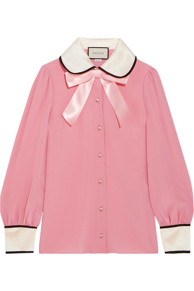 Gucci - Faux Pearl And Bow-embellished Silk Crepe De Chine Shirt - Pink
