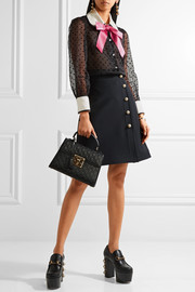 Gucci Bow-embellished flocked silk-organza shirt