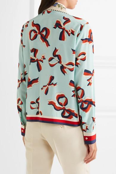 Gucci Bedrucktes Hemd aus Crêpe de Chine aus Seide mit Verzierung 100% Original Online Original Billig Neueste Rabatt Geniue Händler Die Kostenlose Versand Hochwertiger ZOnrG09p