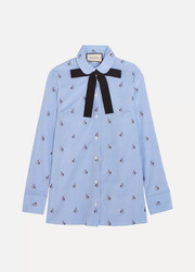 Gucci Bow-embellished embroidered striped cotton shirt
