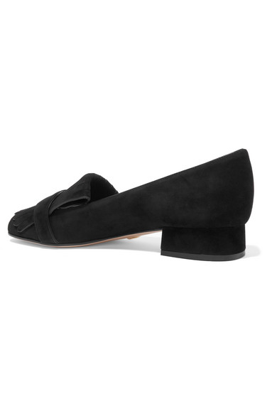 Preiswerte Qualität Gucci Marmont Loafers aus Veloursleder mit Haferlasche und Logoverzierung Günstig Kaufen Klassisch RYqY0Lyz