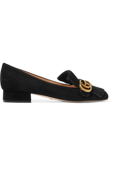 Gucci - Marmont Fringed Logo-embellished Suede Loafers - Black