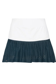 Two-tone stretch-jersey and mesh tennis skirt