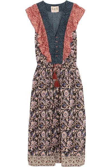 SEA - Ruffled Printed Silk Midi Dress - Blue