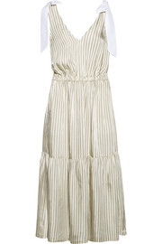 SEA Poplin-trimmed striped voile midi dress