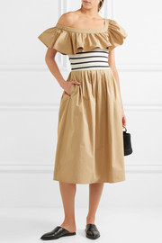 SEA One-shoulder ruffled cotton-gabardine and jersey midi dress