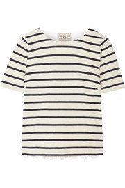 SEA Striped cotton and broderie anglaise T-shirt