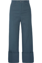 SEA Cropped stretch-poplin wide-leg pants