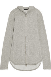 French cotton-blend terry hooded top
