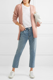 Belted ribbed wool-blend cardigan