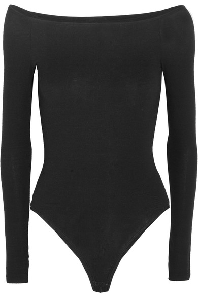 bc70042189 ATM Anthony Thomas Melillo. Off-the-shoulder ribbed stretch-Micro Modal  bodysuit