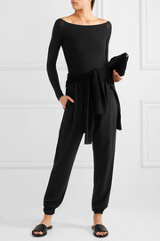 Off-the-shoulder ribbed stretch-Micro Modal bodysuit