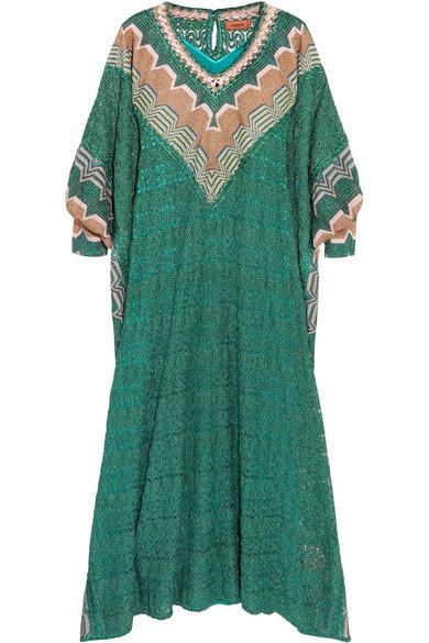 Missoni - Metallic Crochet-knit Kaftan - Green at NET-A-PORTER