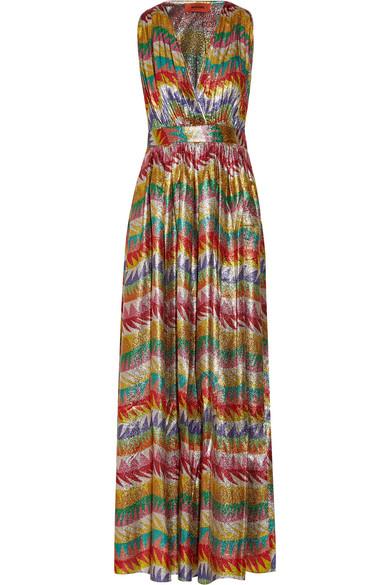 Missoni - Printed Silk-blend Lamé Maxi Dress - Yellow