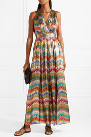 Missoni Printed silk-blend lamé maxi dress