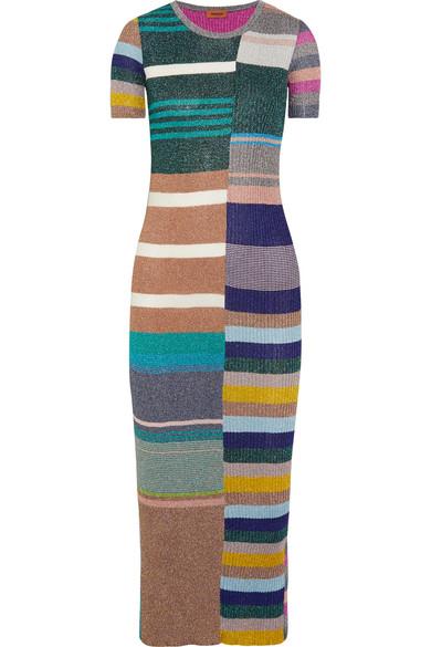 Missoni - Striped Metallic Ribbed-knit Midi Dress - Green at NET-A-PORTER