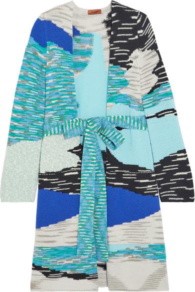 Missoni - Intarsia Wool-blend Cardigan - Blue at NET-A-PORTER