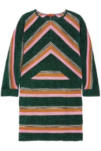 Missoni - Striped Metallic Crochet-knit Mini Dress - Green