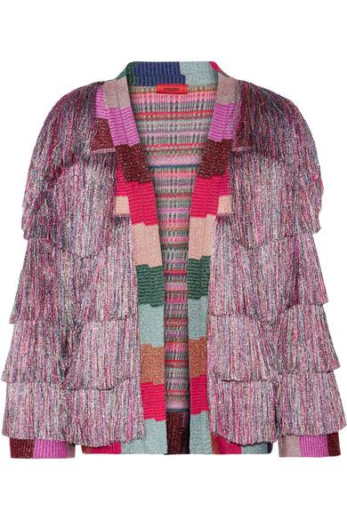 Missoni - Fringed Metallic Knitted Jacket - Lilac