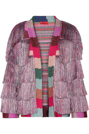 Missoni Fringed metallic knitted jacket