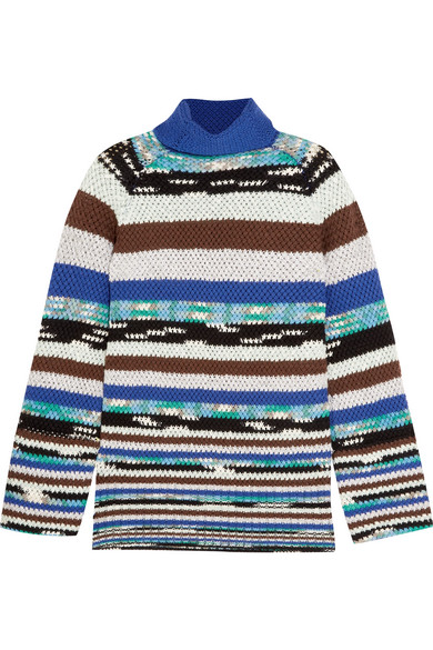 Missoni - Striped Wool-blend Turtleneck Sweater - Blue at NET-A-PORTER