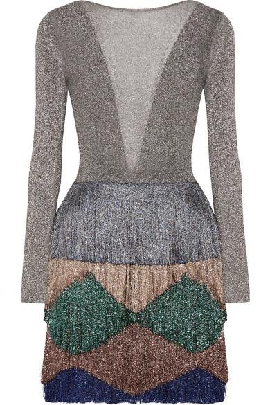 Missoni - Fringed Metallic Knitted Mini Dress - Silver