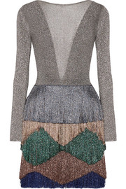 Missoni Fringed metallic knitted mini dress