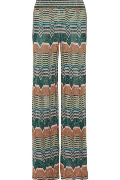 Missoni - Metallic Crochet-knit Wide-leg Pants - Green
