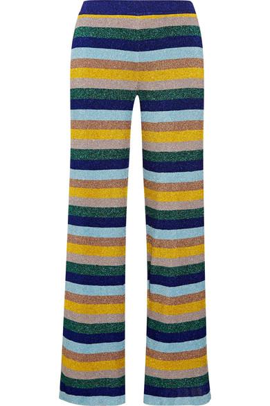 Missoni - Metallic Striped Knitted Wide-leg Pants - Blue