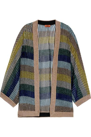 Missoni - Striped Metallic Crochet-knit Cardigan - Blue