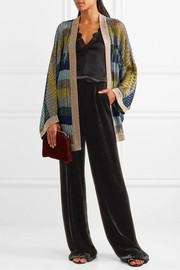 Missoni Striped metallic crochet-knit cardigan